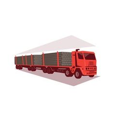 Logging truck and trailer retro style vector