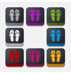 Square button slippers vector