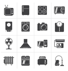 Black home appliances and electronics icons vector