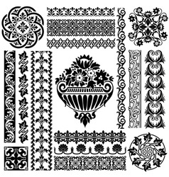 Set ornament pattern vector