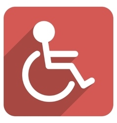 Handicapped flat rounded square icon with long vector