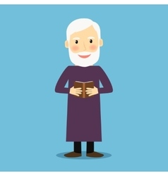 Evangelist old man with book vector