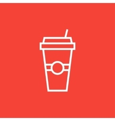 Disposable cup with drinking straw line icon vector