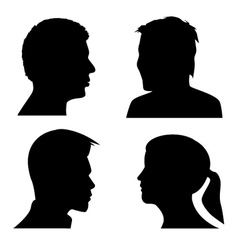 Face profile silhouettes vector