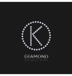 K letter with diamonds vector