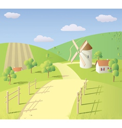 Landscape with mill vector