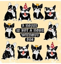 Dog french group bulldog vintage home sign frame vector