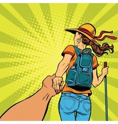 Follow me young woman traveler with a travel vector