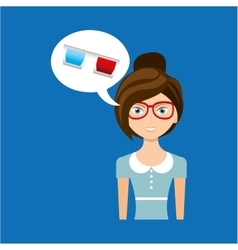 Beautiful girl concept cinema movie glasses icon vector
