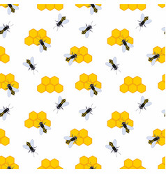 Bee hive seamless background vector