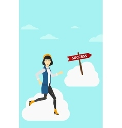 Business woman moving to success vector image