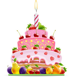 Cake with fruit vector