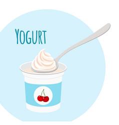 Cherry yogurt healthy milk product in plastic vector