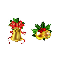christmas decoration with bow set vector image