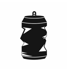 Crumpled aluminum cans icon simple style vector