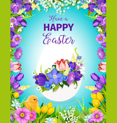 Easter egg floral greeting card with flower frame vector