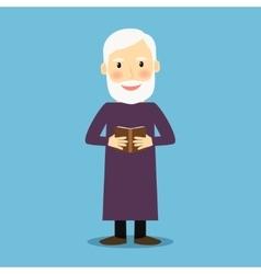 Evangelist old man with book vector image