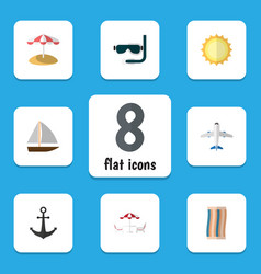 Flat icon season set of recliner aircraft scuba vector