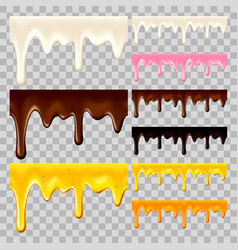 flowing chocolate honey and milk set vector image vector image