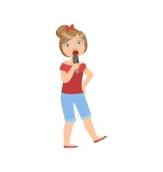 Girl in breeches singing in karaoke vector