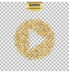 Gold glitter icon of play isolated on vector