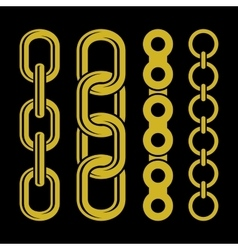 Golden chain parts icons set on white background vector image vector image