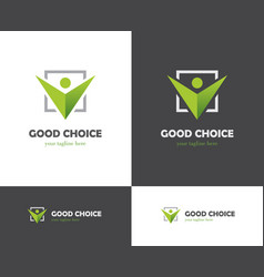 green check box and abstract human icon vector image