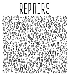 Hand drawn repairs construction tools seamless vector image
