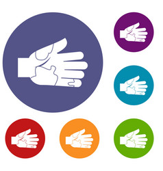 Hand with stains icons set vector