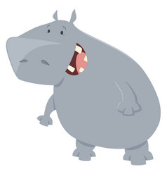 hippo cartoon animal character vector image vector image