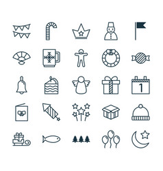 Holiday icons set collection of gift snow person vector