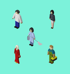 Isometric human set of male housemaid female and vector