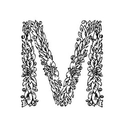 letters floral m vector image vector image