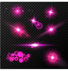 Realistic glow blue light effects Lens flare set vector image