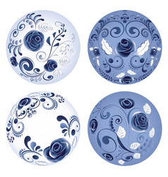 Round blue floral ornaments vector