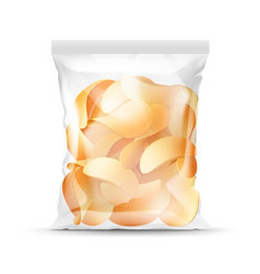 sealed transparent plastic bag full of chips vector image vector image