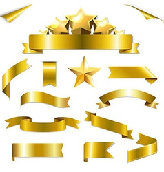 Set Gold Ribbons And Stars vector image vector image