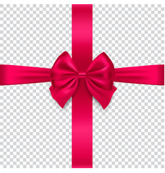 silk red bow and ribbon on transparent background vector image vector image
