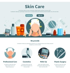 Skin care one flat page vector