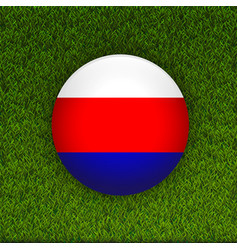 Soccer green grass pattern field with russia flag vector