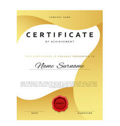 Template certificate design in gold color vector image