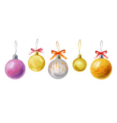 Watercolor christmas balls isolated on vector