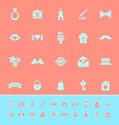 Wedding color icons on orange background vector image