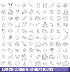 100 children birthday icons set outline style vector