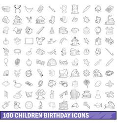 100 children birthday icons set outline style vector