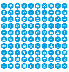 100 military journalist icons set blue vector image vector image