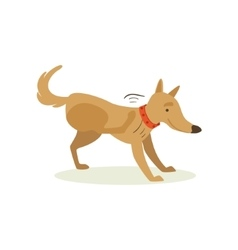 Brown pet dog scratching from fleas animal vector