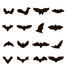 Big set of black silhouettes bats vector image