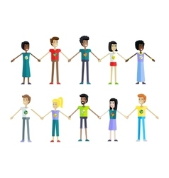 People in a row holding hands vector