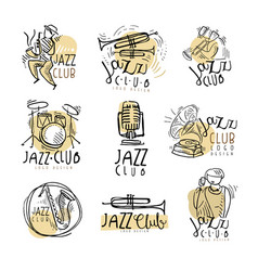 jazz club logo design hand drawn vector image